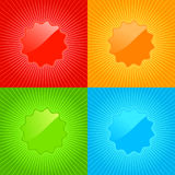Multicolored vector set of empty labels on the background with radiating rays Royalty Free Stock Photo