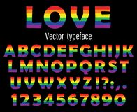 Multicolored celebrate pride typeface. ABC colorful letters and numbers isolated on black. Vector illustration. Multicolored vector typeface. Celebrate pride Stock Image