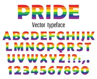 Multicolored celebrate pride typeface. ABC colorful letters and numbers isolated on white. Vector illustration. Multicolored vector typeface. Celebrate pride Royalty Free Stock Image