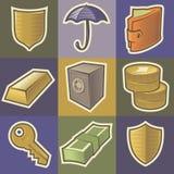 Multicolored veiligheidspictogrammen Stock Fotografie