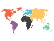 Multicolored vereenvoudigde die wereldkaart aan continenten wordt verdeeld Stock Afbeelding