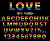 Multicolored vier trotslettersoort De de kleurrijke die letters en getallen van ABC op zwarte worden geïsoleerd Vector illustrati Stock Afbeelding