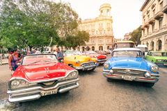 Multicolored vintage american cars in Havana City Royalty Free Stock Photography