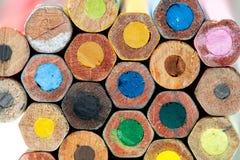 Multicolored vintage pencils macro view Royalty Free Stock Photos
