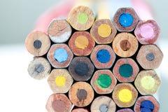 Multicolored vintage pencils macro view Stock Photo