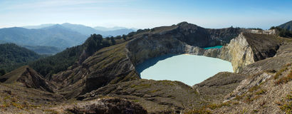 Multicolored volcanic lakes view. Flores, Kalimutu three colors lakes, with white and turquoise ones Stock Images