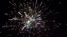 Multicolored vuurwerk tegen de zwarte hemel In de voorgrond zijn boom-2 stock footage