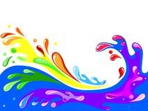 Multicolored water splash Stock Photos