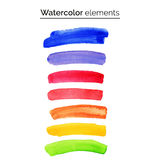 Multicolored watercolor design elements. Set isolated watercolor paint strips. Stock Photo