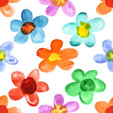 Multicolored watercolor flowers Royalty Free Stock Image