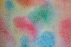 Multicolored watercolor hand painted background. Abstract acrylic texture and background for designers. Abstract watercolor background on textured paper stock illustration