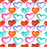 Multicolored watercolor hearts Royalty Free Stock Photography