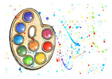 Multicolored watercolor splash blot Royalty Free Stock Image