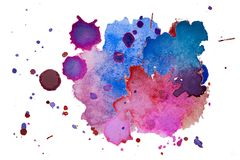 Multicolored watercolor splash texture blots background isolated. Grunge hand drawn blob, spot and droplets. Watercolour splatter stock illustration