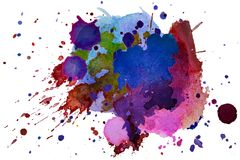 Multicolored watercolor splash texture blots background isolated. Grunge hand drawn blob, spot and droplets. Watercolour splatter. Stain effects. Spring and vector illustration