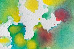 Multicolored watercolor splashes as background. Abstract watercolor texture and background for designers. Multicolor hand painted background with textured Royalty Free Stock Photography