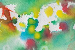 Multicolored watercolor splashes as background. Abstract watercolor texture and background for designers. Multicolor hand painted background with textured Royalty Free Stock Photo