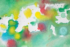 Multicolored watercolor splashes as background. Abstract watercolor texture and background for designers. Multicolor hand painted background with textured Stock Image