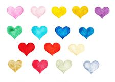 Multicolored waterverfreeks met de hand getrokken harten royalty-vrije illustratie