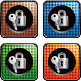 Multicolored web buttons with lock and key Royalty Free Stock Photography