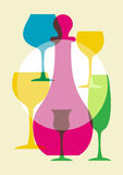 Multicolored wine glasses Stock Photos