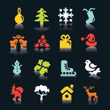 Multicolored  winter and  Christmas icons Royalty Free Stock Photos
