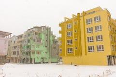Multicolored winter Pomorie, Bulgaria, 31 december royalty free stock photos