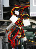 Multicolored wires from computer. Rn royalty free stock photos