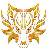 Multicolored wolf. Illustration of a gold wolf head tattoo/symbol Royalty Free Stock Photography