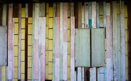 Colorful Wood wall in Bangkok stock photo