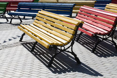 Multicolored wooden benches Royalty Free Stock Image