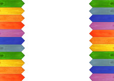 Multicolored wooden fence from colors of rainbow isolated on the edges. Multicolored fence on the edges isolated on the white background. Multicolored wooden stock photography