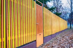 Multicolored Wooden Fence. In Serbia Royalty Free Stock Images