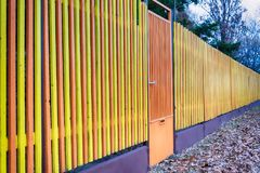 Multicolored Wooden Fence. In Serbia Royalty Free Stock Photography