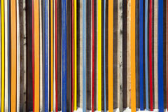 Multicolored wooden fence taken closeup suitable as abstract background Royalty Free Stock Image