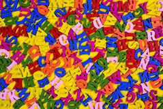 Multicolored wooden letters of the English alphabet Stock Image