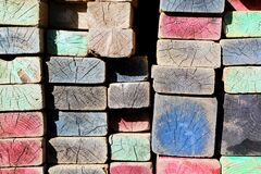 Multicolored Wooden Ornaments Royalty Free Stock Photography