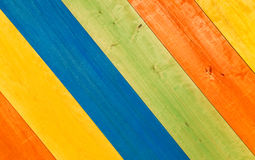 Multicolored Wooden Planks in Diagonal for Background Stock Images