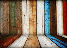 Multicolored wooden room interior Stock Photo