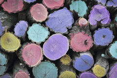 Multicolored woodstack background Royalty Free Stock Images