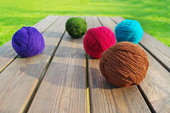 Multicolored wool balls. Royalty Free Stock Photography