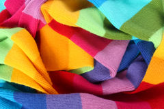Multicolored wool scarf. Close up multicolored wool scarf texture royalty free stock images