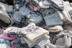 Multicolored wool socks Stock Images
