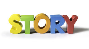 Multicolored word story made of wood. Royalty Free Stock Photos