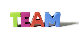 Multicolored word team made of wood. Royalty Free Stock Photos