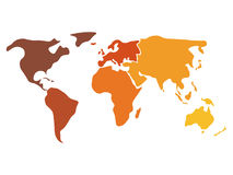 Multicolored world map divided to six continents in different colors - North America, South America, Africa, Europe Royalty Free Stock Photography