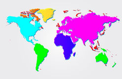 Multicolored world map  illustration Stock Images