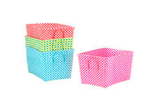 Multicolored woven nylon baskets Stock Photography