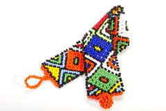 Multicolored Zulu Beaded Wristband Twisted in Shape of Aids Symb Stock Image