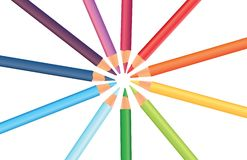 Multicoloredpencils in a circle, vector Royalty Free Stock Images